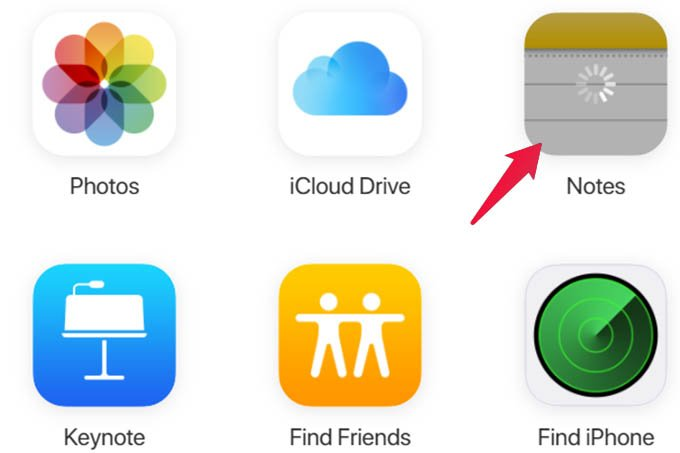 Open Notes in iCloud Web on PC or Mac