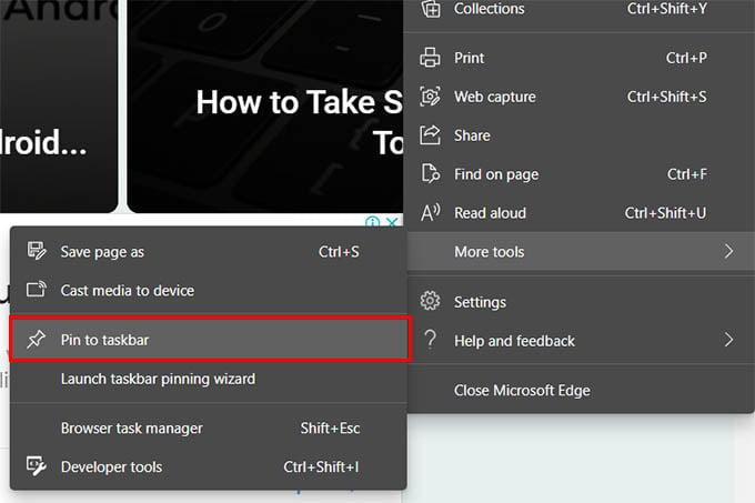 Pin Website to Taskbar Microsoft Edge