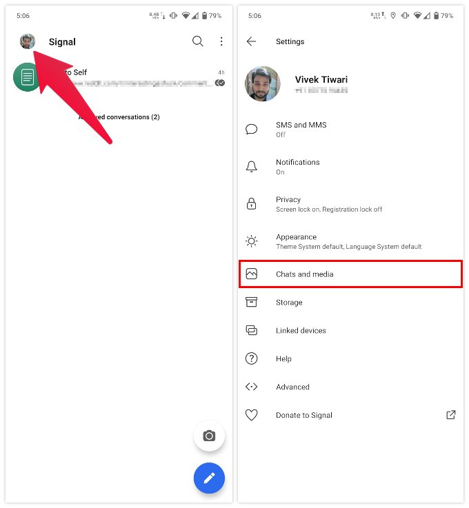 Access Signal settings on Android