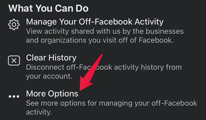 Tap More Options in Off Facebook Activity