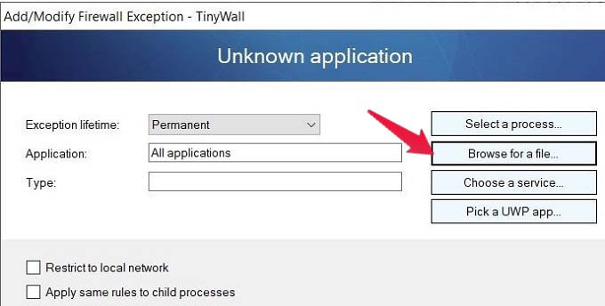 TinyWall Add Modify Firewall Exception