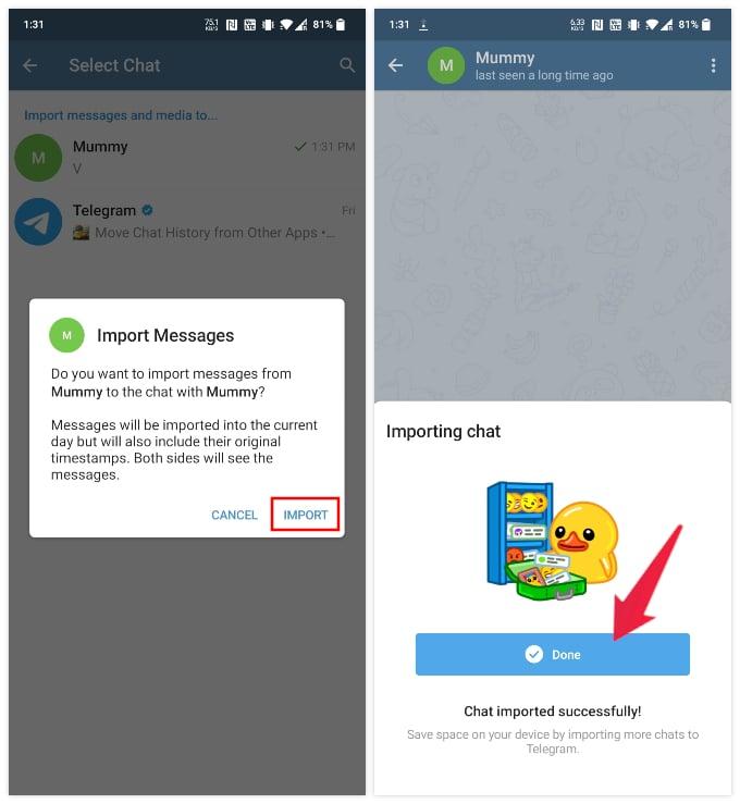 Import whatsapp chat to Telegram