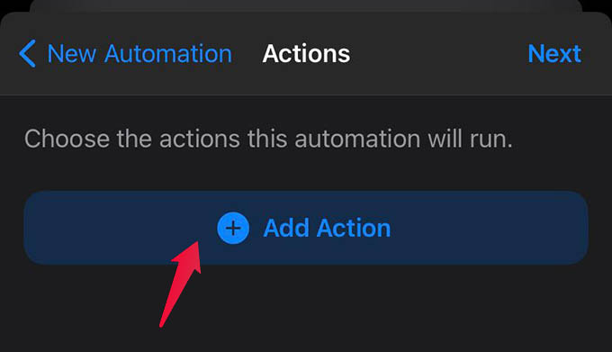 Add Action to Shortcuts on iPhone