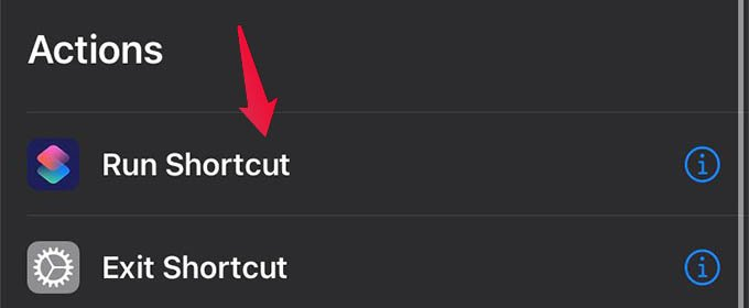 Add Run Shortcut Action to Automation on iPhone