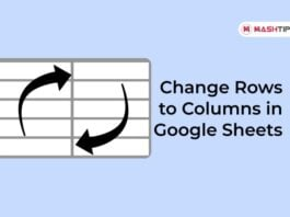 Change Rows to Columns in Google Sheets