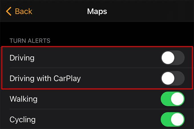 Disable Driving Alerts and Driving with CarPlay Notifications on Apple Watch
