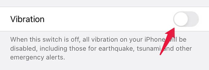 Disable Vibrations on iPhone
