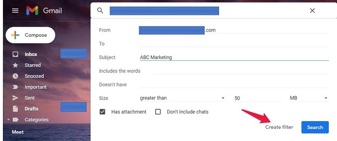 Filter-Criteria in Gmail