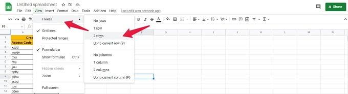 Google Sheets Menu Function to Lock Rows in Google Sheets