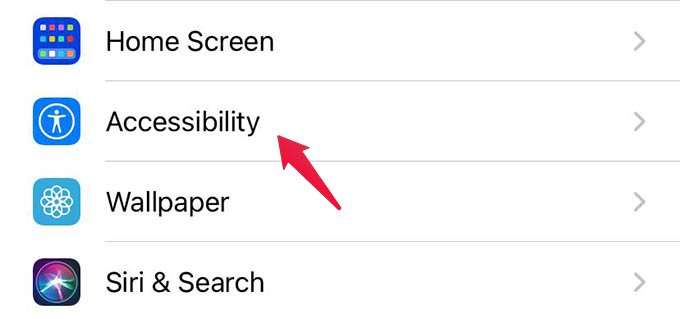 Go to iPhone Accessibility Settings