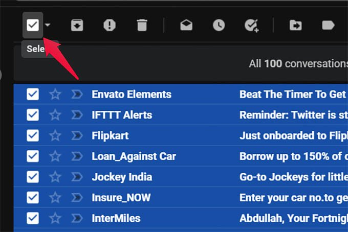 Select All Emails in Gmail