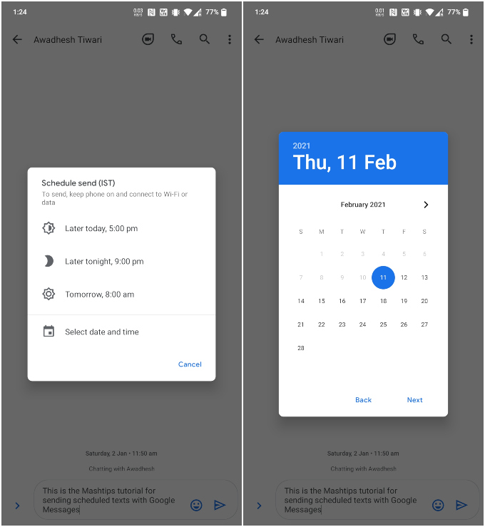 date for scheduled message