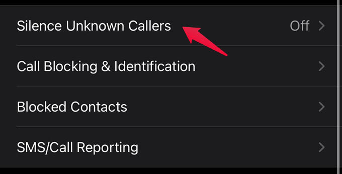 Silence Unknown Callers iPhone