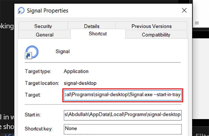 Start Signal in System Tray in Windows 10