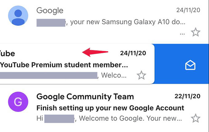 Swipe Email Left to Mark as Read or Unread in Gmail