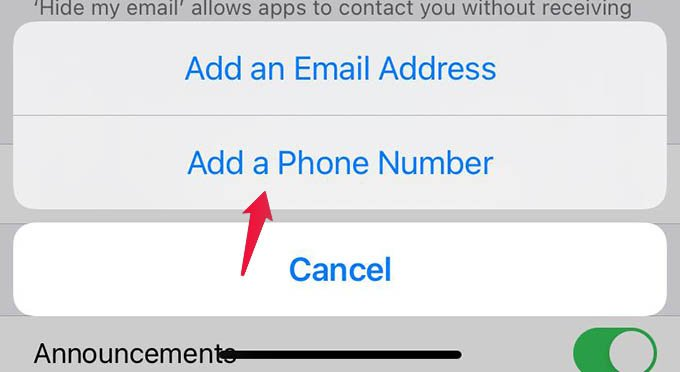 Add New Phone Number iPhone