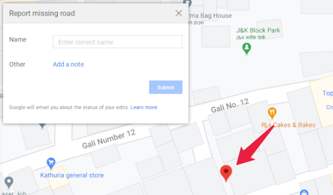 Add missing road in Google Maps
