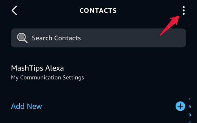 Alexa Communicate Menu