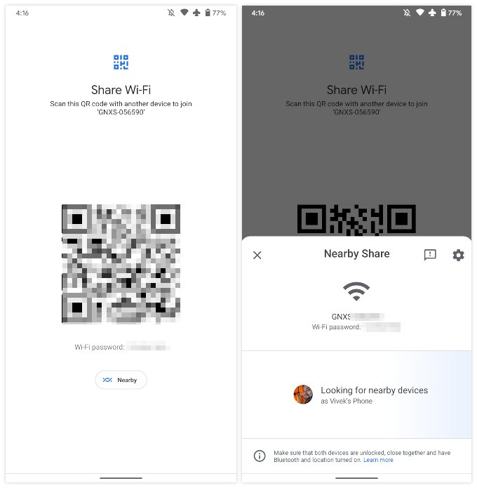 Android 12 features: share wi-fi with nearby share