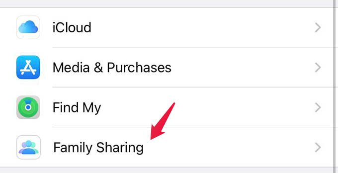 Apple Family Sharing Settings on iPhone