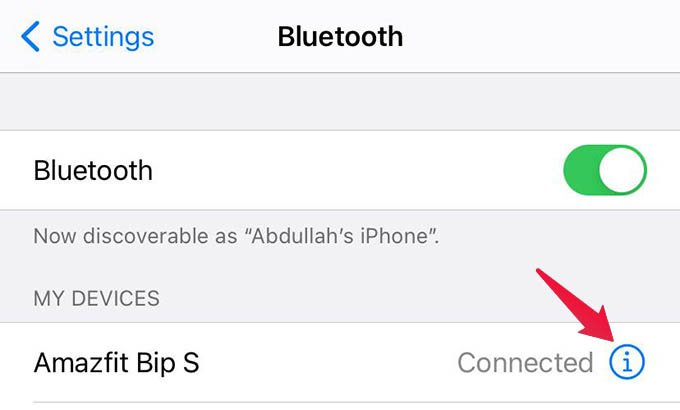 Connect Amazfit Bip with iPhone Over Bluetooth and Connection Settings