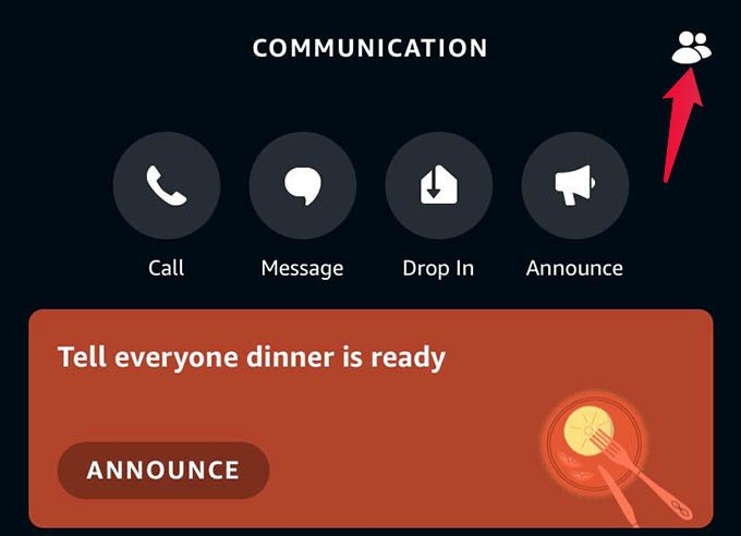 Contact Menu in Alexa App