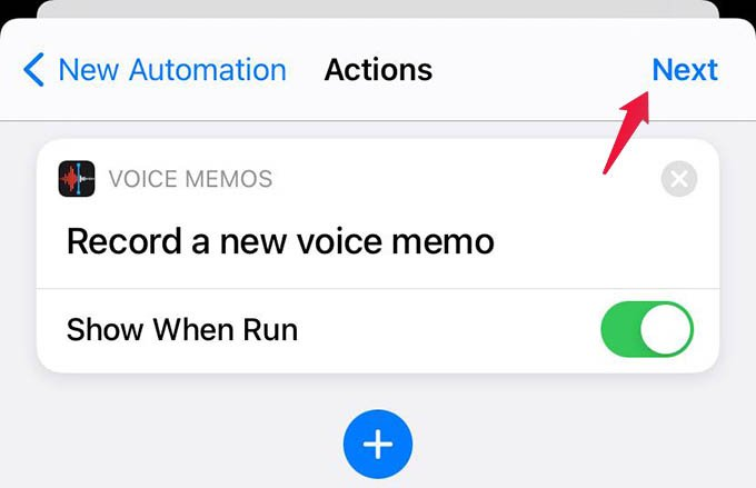 Create Automation in Shortcut Apps and FInish