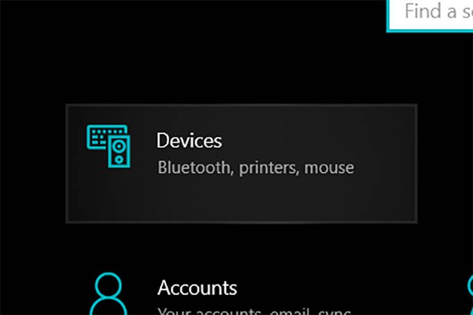 Devices Settings on Windows 10