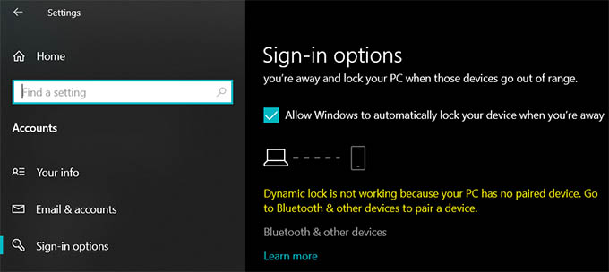 Dynamic Lock Not Working of No Paired Device in Windows 10