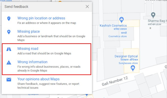Add missing road or fix wrong route on Google Maps