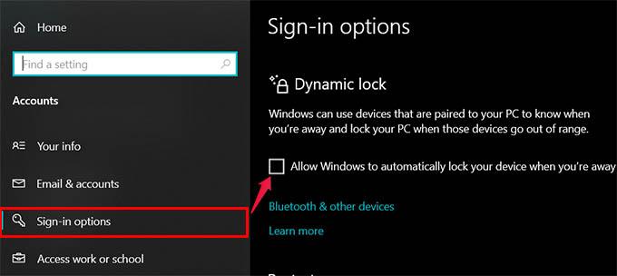 Enable Dynamic Lock on Windows 10
