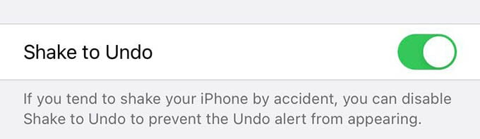 Enable Shake to Undo on iPhone