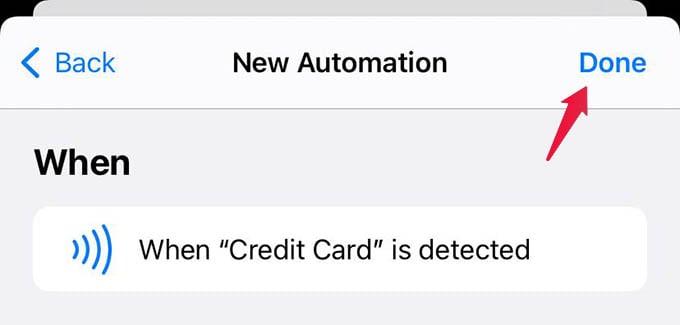Finish Creating Shortcut Automation