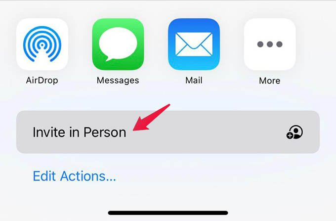 Invite In Person to Family Sharing on iPhone