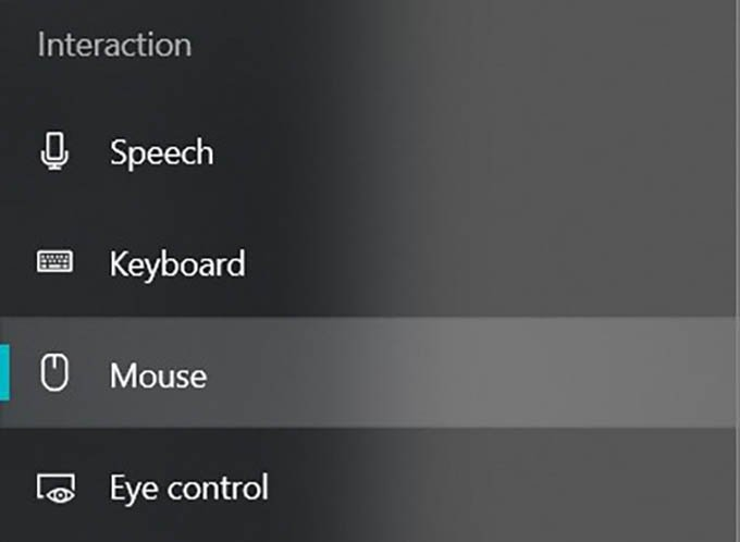 Mouse Accessibility Settings in Ease of Access