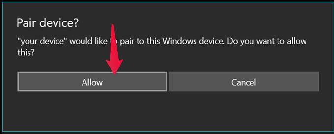 Pair Phone with Windows 10 via Bluetooth