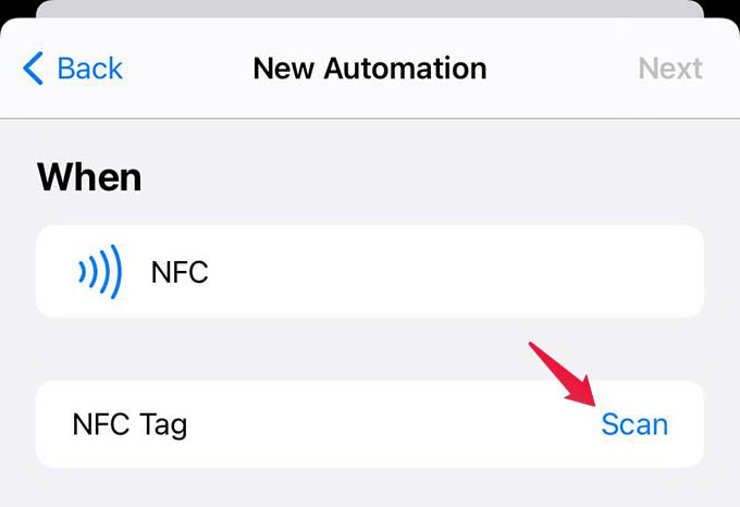 Scan NFC Tag in iPhone Automation