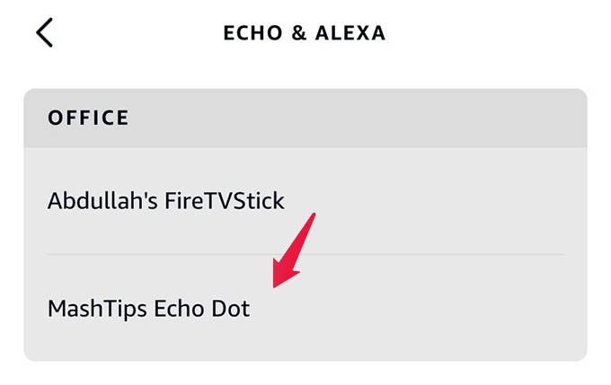 Select Echo Speaker from Alexa App