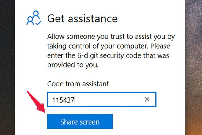 Share Screen to Get Windows 10 Remote Assistance