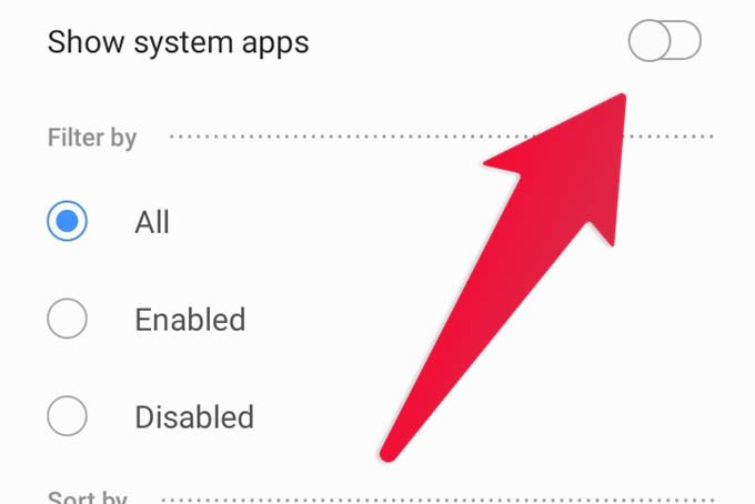 Show System Apps on Samsung Galaxy phone