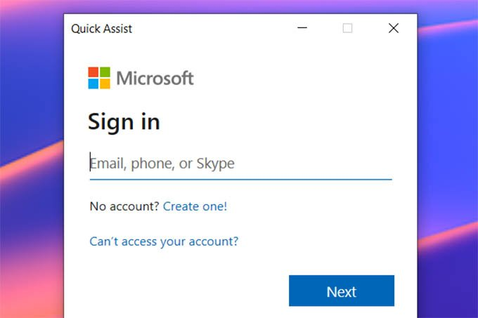 Sign in to Microsoft Account on Windows 10 Quick Assist