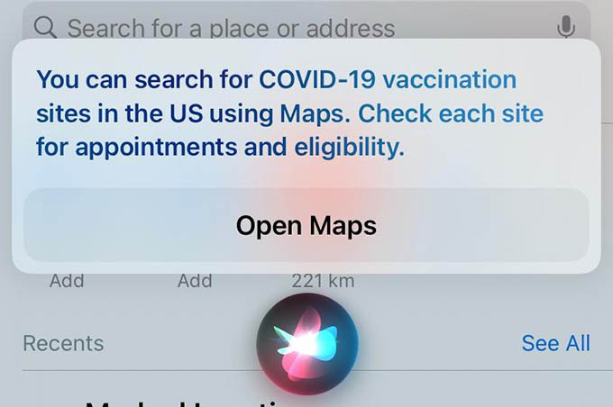 Siri FInding Covid 19 Vaccination Locations on iPhone