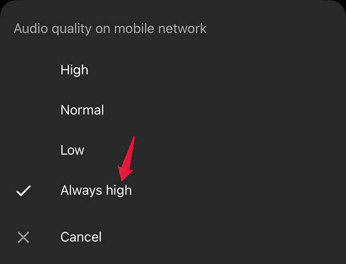Stream High Quality Audio in YouTube Music on Android and iPhone