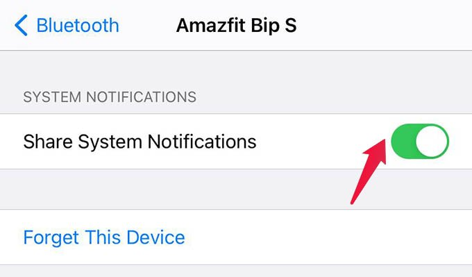 Turn on iPhone Notification Sync with Amazfit Bip