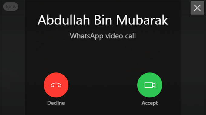 WhatsApp Incoming Video Call on PC Desktop