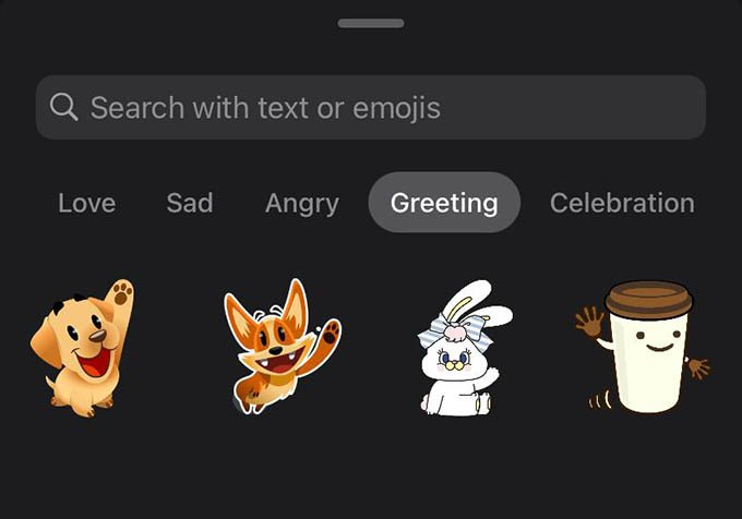 WhatsApp Stickers Grouped in Search