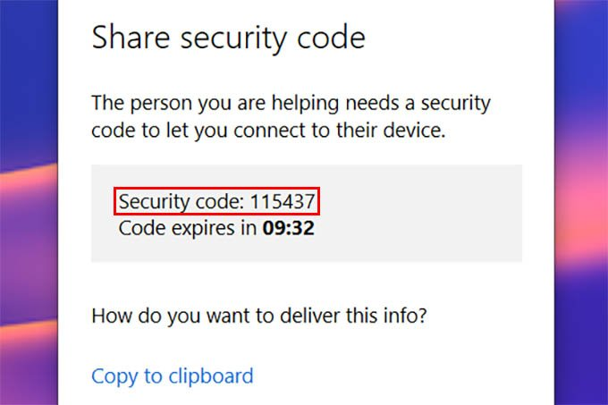 Windows 10 Quick Assist Security Code to Connect