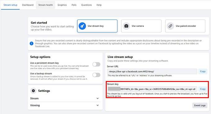 Facebook Live Stream Key