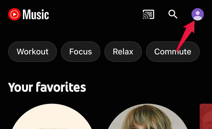 YouTube Music App Profile Settings