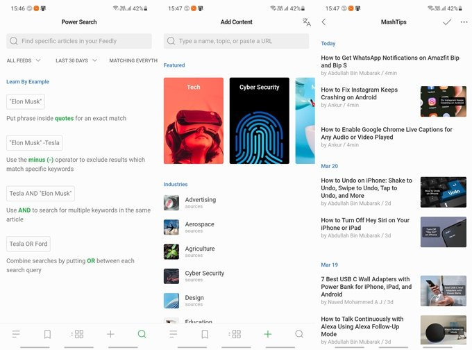 adding sources of content in feedly